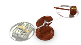 Balance with dollar on one side and a gavel on the other Royalty Free Stock Images