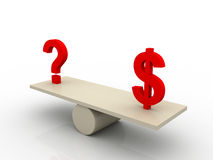 Balance of dollar and question mark. On white background Stock Photo