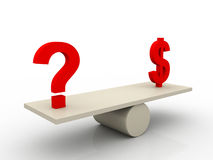 Balance of dollar and question mark. On white background Stock Images