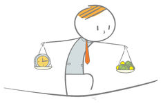 Balance. Doodle stick figure: Businessman walking on a tightrope with hands carrying money and clock Stock Photos