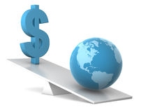 Balance - earth and dollar Royalty Free Stock Photography
