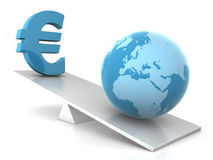 Balance - earth and euro Royalty Free Stock Image