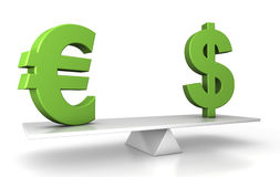 In balance - euro and dollar. 3d illustration of dollar and euro in balance - financial concept Royalty Free Stock Photo