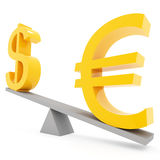 Balance euro and dollar. Correlation euro and dollar on white background Royalty Free Stock Image