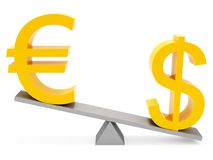 Balance euro and dollar. Correlation euro & dollar on white background Royalty Free Stock Photos