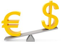Balance euro & dollar. Correlation euro & dollar on white background Stock Photography