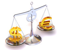 Balance of euro and dollar. 3d Very beautiful three-dimensional illustration, figure Stock Photo