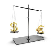 Balance with euro and dollar. Classic scales of justice with euro and dollar symbols,   on white background Royalty Free Stock Photos