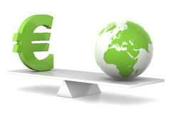 In balance - euro and earth Royalty Free Stock Photos