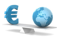 In balance - euro and earth. 3d illustration of earth and euro in balance - financial concept Royalty Free Stock Photos