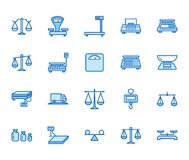 Balance flat line icons set. Weight measurement tools, diet scales, trade, electronic, industrial scale calibration. Vector illustrations. Thin sign justice vector illustration