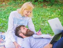 Balance freelance and family life. Man and girl work laptop. Build business with your spouse. Share business. Responsibility. Business partner concept. Couple stock images