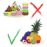 Balance between fruits and cakes. Right choice. Vector illustration about balance between fruits and cakes and right choice Royalty Free Stock Image