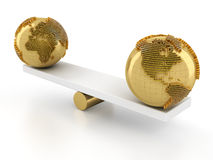 Balance of global financial market. 3d render, white background Stock Photo