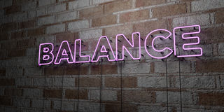 BALANCE - Glowing Neon Sign on stonework wall - 3D rendered royalty free stock illustration Stock Images
