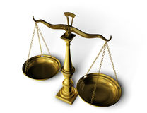 Balance. A golden balance, the symbol of justice, equality and law royalty free stock photography