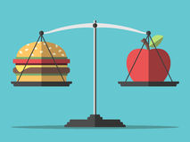 Balance, hamburger and apple. Hamburger and apple on scales. Balance between fast and healthy food. Diet, nutrition, fitness and health concept. EPS 8 vector Stock Photos