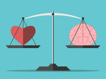 Balance, heart and brain. Heart and brain on scales. Balance, love, mind, intelligence, logic concept. Flat style. EPS 8 vector illustration, no transparency Royalty Free Stock Images