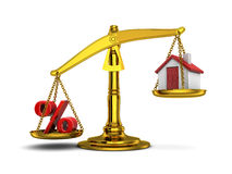 Balance home and percent down Stock Image