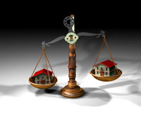 Balance and houses. 3d illustration of a scale and two houses royalty free illustration