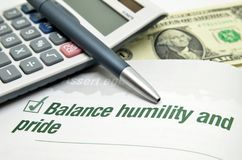 Balance humility and pride Stock Photography