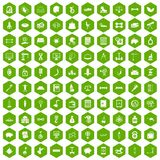 100 balance icons hexagon green. 100 balance icons set in green hexagon isolated vector illustration Stock Images