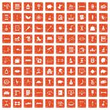 100 balance icons set grunge orange. 100 balance icons set in grunge style orange color isolated on white background vector illustration stock illustration
