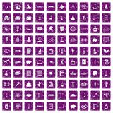 100 balance icons set grunge purple Stock Image