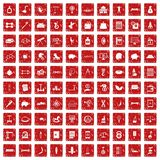 100 balance icons set grunge red. 100 balance icons set in grunge style red color isolated on white background vector illustration Stock Image