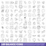 100 balance icons set, outline style Stock Photo