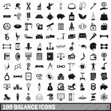 100 balance icons set, simple style. 100 balance icons set in simple style for any design vector illustration Royalty Free Stock Images