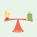 Balance between idea and money Royalty Free Stock Photography