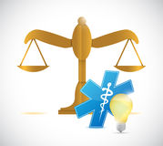 Balance law medical light bulb illustration design Stock Photography