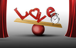 Balance love with time. A balance board on a red ball tipping with the love letters and a clock. Concept for balancing love and time in a busy life. The stage is stock illustration