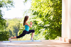 Balance, meditation, yoga. Doing yoga in the park. Balance, meditation Stock Photo
