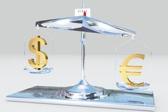 Balance money. Golden dollar euro balance in the market Stock Photo