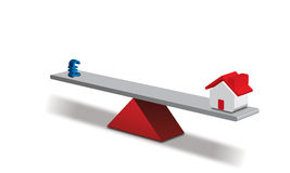Balance - Money and a House. Seesaw concept Pound - and a House royalty free illustration