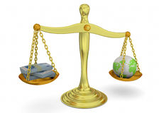 Balance, Money and World - 3D Stock Photos