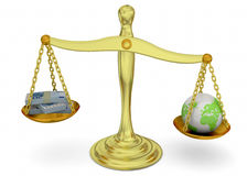 Balance, Money and World - 3D Stock Images