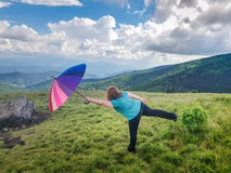 Balance on a Mountain Summit Stock Photography