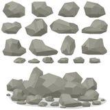 Balance os desenhos animados de pedra no estilo 3d liso isométrico Grupo de diferente ilustração stock