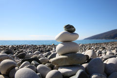 Balance pebbles on the beach. Stock Images