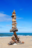 Balance and poise stones. Rock zen on the background of blue sky and sea Royalty Free Stock Images