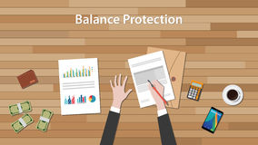 Balance protection concept with business man work on paper document  chart and graph  top of wooden table Stock Photo