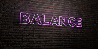 BALANCE -Realistic Neon Sign on Brick Wall background - 3D rendered royalty free stock image Royalty Free Stock Photo
