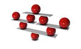Balance with red balls, concept 3d illustration Royalty Free Stock Photos