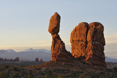 Balance rock in Arches National Park at sunrise Royalty Free Stock Image
