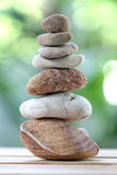 Balance rock or zen stones on wooden floor and have nature green. Background in soft focus stock image