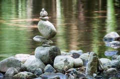 balance rocks in the river stock photography