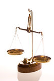 Balance scale. Scale with weights on white stock photo